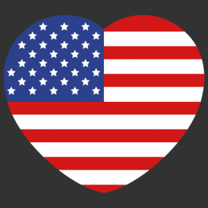 I love USA, a rounded heart in the colours of the American flag.