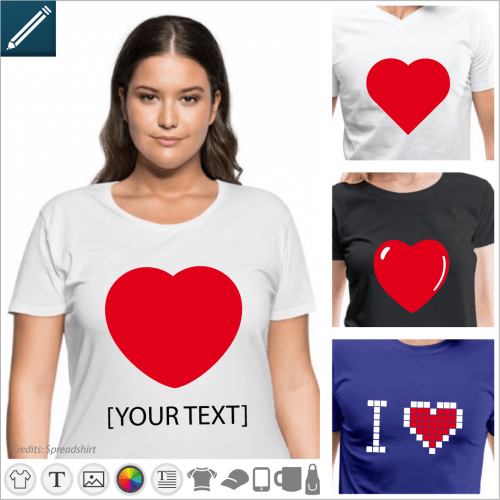 Create your own personalized I love t-shirt online with customizable hearts in vector format to be modified in the designer
