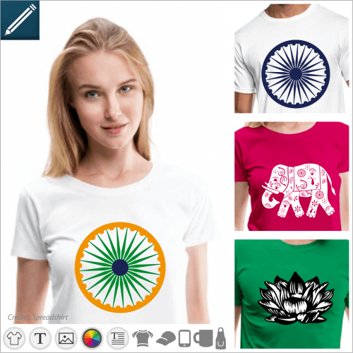 India T-shirt, Indian flags and floral motifs to personalize online.
