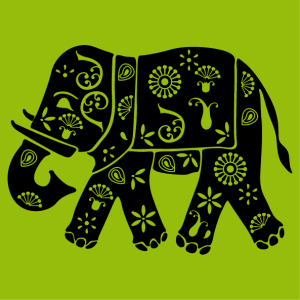 Indian elephant decorated with flowers and classic patterns, design in one color to customize.
