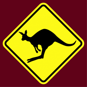 Gift or t-shirt road sign kangaroo crossing to print yourself online.