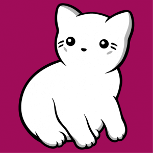 Three color kawaii cat to print on t-shirt.