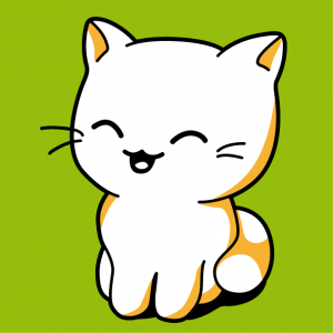 Cat to be printed on t-shirt. Original design in 3 opaque colours. Customize a kawaii cat t-shirt.