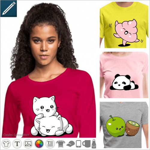 Kawaii t-shirt to personalize, cute designs to print online.