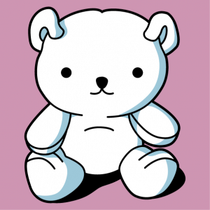 Customized kawaii t-shirt with a sitting teddy bear drawn in 3 colors.
