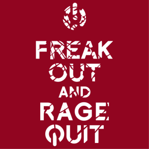 Keep calm and rage quit, keep calm design diverted with a freak out joke, a geek and gaming design.