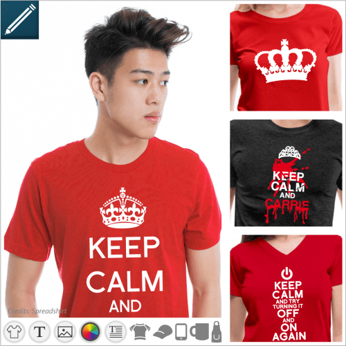 T-shirt keep calm personalized to create. Print your keep calm joke online.