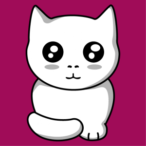 Kitten kawaii 3 colors to print online, a cats and pets design.