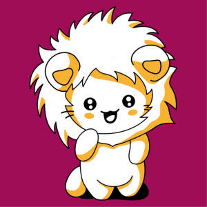 Funny cat t-shirt with a lion hood, designed in kawaii style.