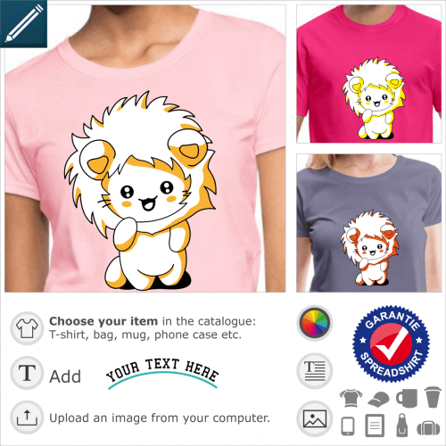 Kawaii kitten t-shirt, funny cat wearing a lion hood to print on t-shirt or gift.