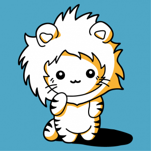 Funny kawaii cat dressed as a lion with a mane hood. Customizable 3-color design.