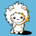 Funny kitten designed in kawaii style, wearing a hood shaped like a lion's mane.