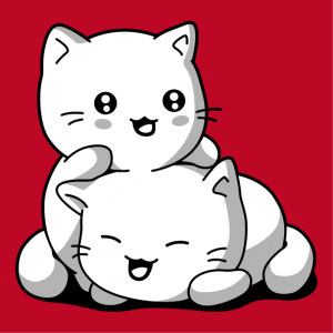 Opaque 3-color kawaii cats to customize and print online. Create a cat t-shirt.