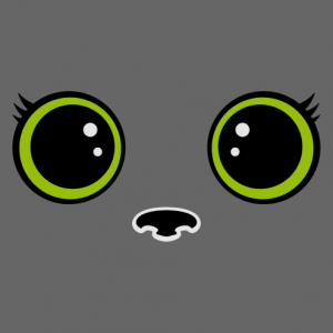 Cat eyes in kawaii style with large round pupils and stylized eyelashes, a cat and animal design.
