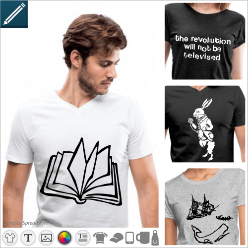T-shirt literature, designs to be modified in the designer and printed on the item of your choice.