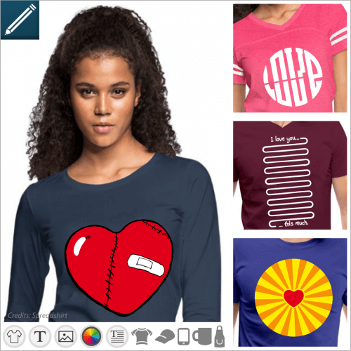 Love t-shirt, designs to customize on the theme of couple and hearts etc..