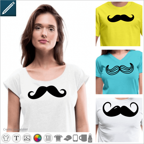 Print your mustache t-shirt online with a special moustache design printed on t-shirt, cup, etc.