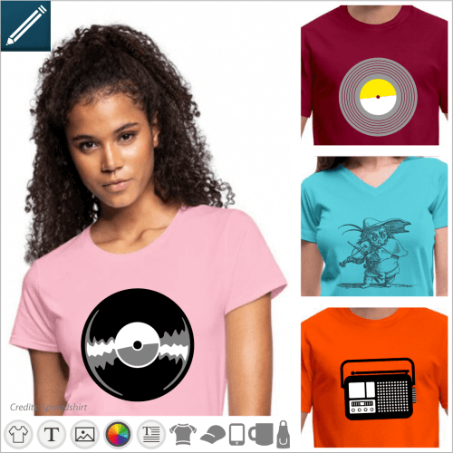 Music t-shirt to personalize and print yourself, vinyl record designs, radio, vintage music.