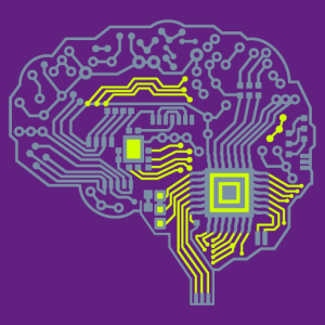 Custom printed circuit board design in the shape of a brain drawn in profile. Create an original geek and robot t-shirt.