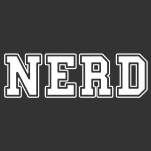 Nerd T-shirt, nerd is written in large thick capital letters to customize.