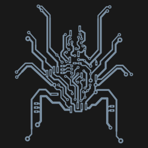 Spider T-shirt designed in printed circuit lines to print yourself online.