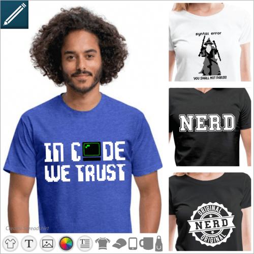 Custom nerd t-shirt. Nerd in college typography, geek and dork joke, to be printed online.
