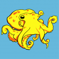 Stylized octopus with tentacles forming curls and waves. Create a sea t-shirt.