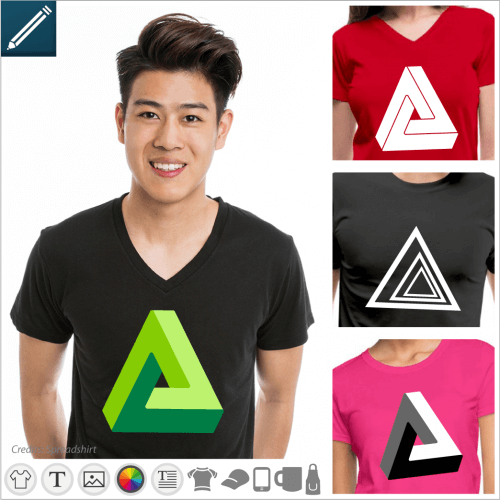 Optical illusion t-shirt , impossible triangles, penrose shapes, illusions to print online.