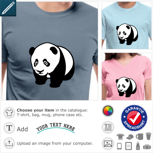 Baby panda turned slightly to the left, on all fours. Black and white design in kawaii style with large reflective eyes.