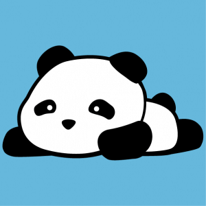 Funny panda t-shirt to personalize online. Little panda kawaii lying on his stomach.