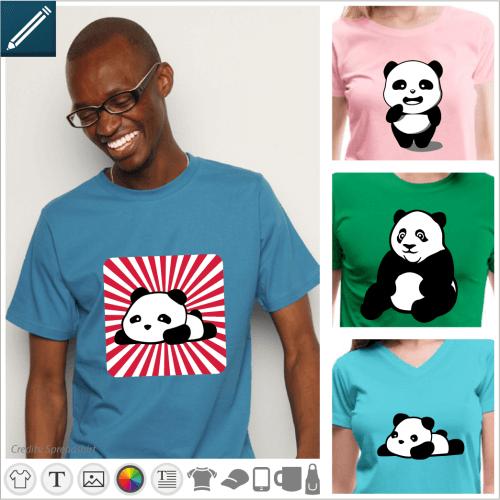 Pandas to customize online. Pandas kawaii, baby panda on his stomach, big panda sitting, choose the design you like and print it online.