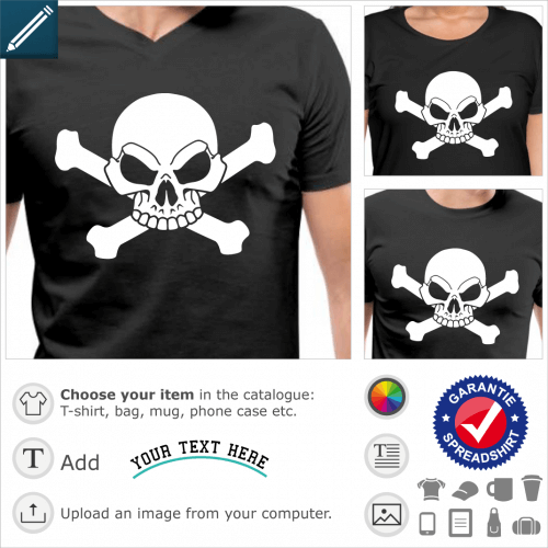 Pirate flag t-shirt to customize online. Stylized skull on crossed bones. White skull to be printed on black t-shirt.