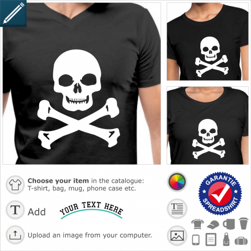 T-shirt Laughing skull with wide and square chin, special vector design for printing t-shirts in white on black.