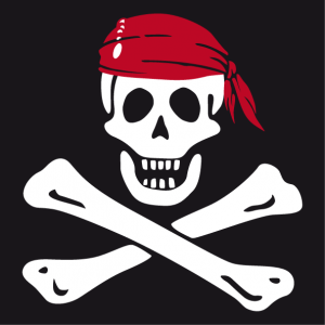 Pirate skull and crossbones skull t-shirt, classic jolly roger design.