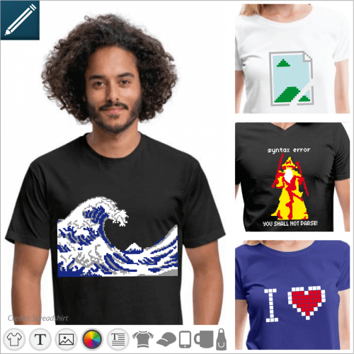 T-shirt pixels and pixel art, nerd and 8bits designs to customize in the designer and print online.