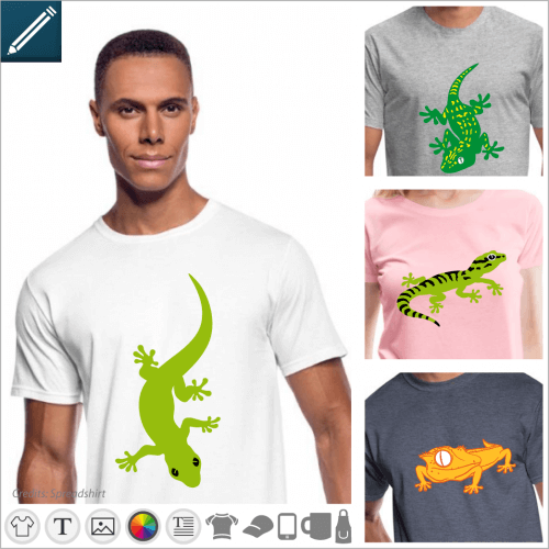 Reptile t-shirt, stylized gecko to be modified in line and print syr t-shirt, cup, bag etc.