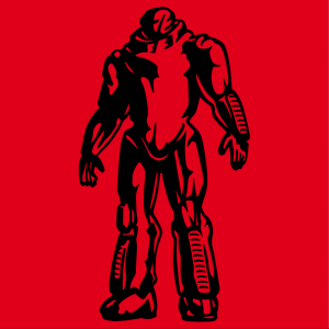 Customize a robot t-shirt with this transparent and stylized robot in one color and designed in black and cutouts.