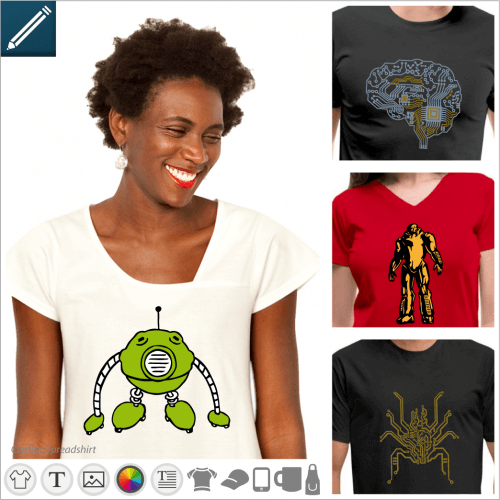 Custom robot t-shirt. Choose your funny or futuristic robot design and create an original robot t-shirt.