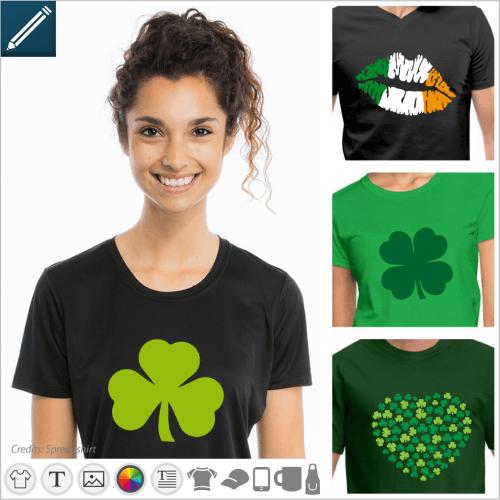 Custom Saint Patrick's T-shirt, shamrocks, Irish clubs and Irish flag to customize in the designer and print online.