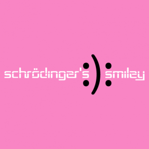 The Schrödinger Smiley, a nerd and science design with emoji happy and sad.