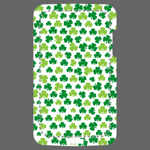 Three leaf shamrock clovers randomly spread over a rectangular area adaptable to the dimensions of portable and mobile cases.