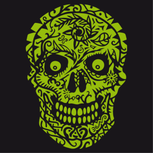 Flowered skull t-shirt to print on black t-shirt.