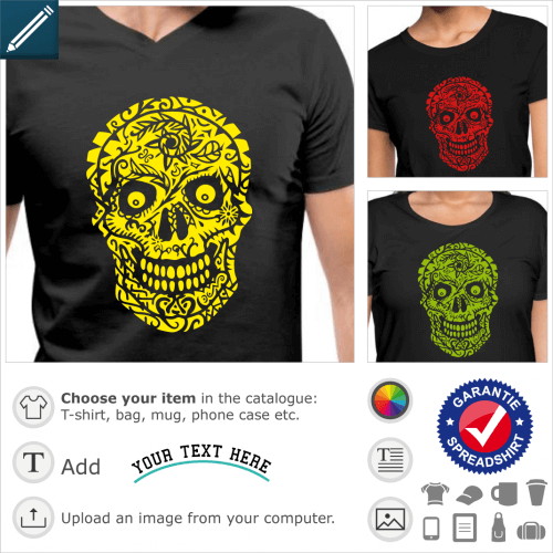 Skull t-shirt decorated with flowers, negative design to print on t-shirt or dark mug.