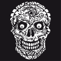Skull flowers T-shirt. Special skull and crossbones for printing on a black background, decorated with floral motifs.