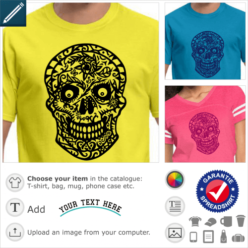 Mexican skull and crossbones t-shirt with floral decorations, floral design in thick lines.