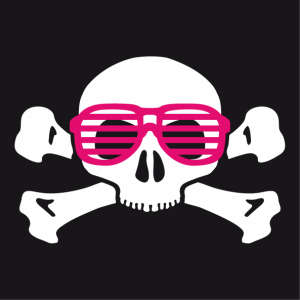 Nerd skull and crossbones t-shirt with glasses, funny two-color design.