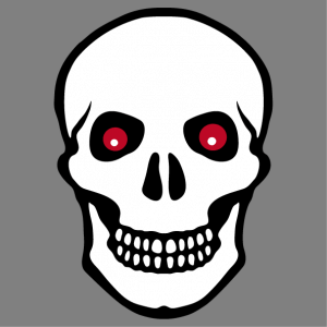 White skull T-shirt with black contours and flaming red eyes.