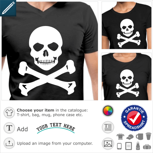 Smiling and mocking skull to be printed in white on black t-shirt.