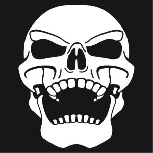 Customizable Skull t-shirt. Pirate skull sneering, skull bent backwards.