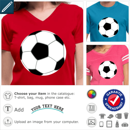 Soccer design, soccer ball designed in three colors, without contours. A ball to personalize and print on a colorful t-shirt.